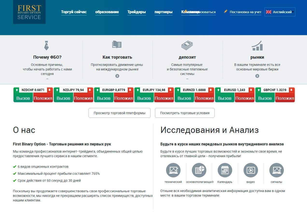 First Binary Option Service официальный сайт