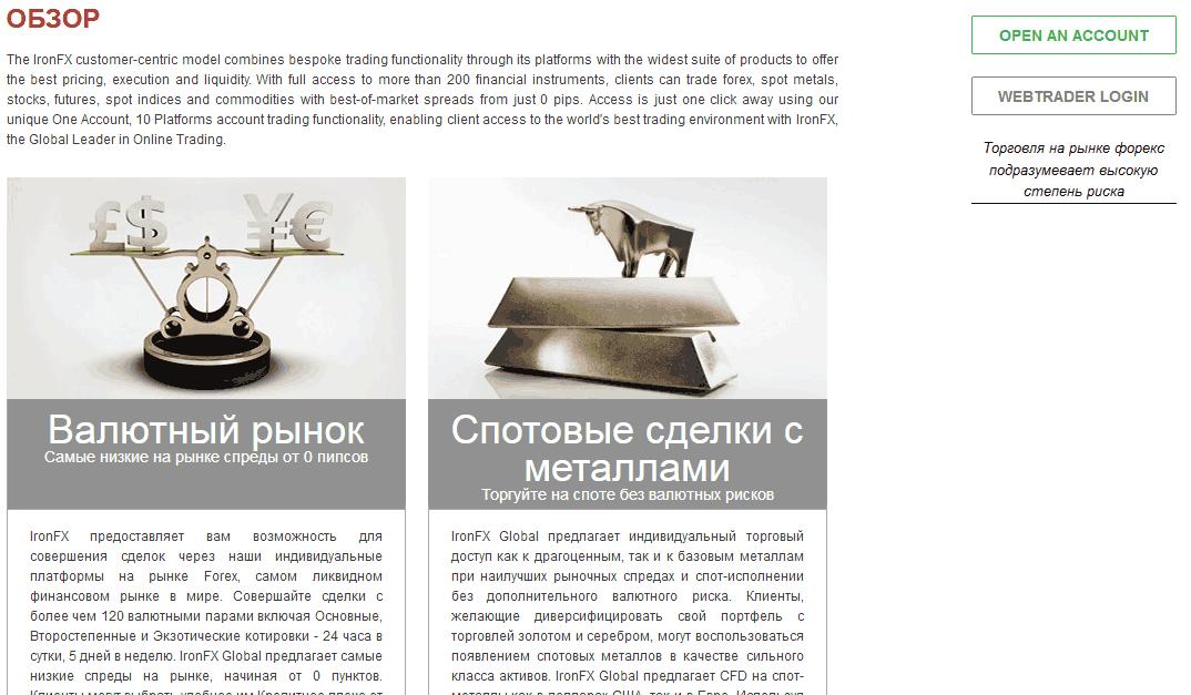 торговые инструменты iron fx com