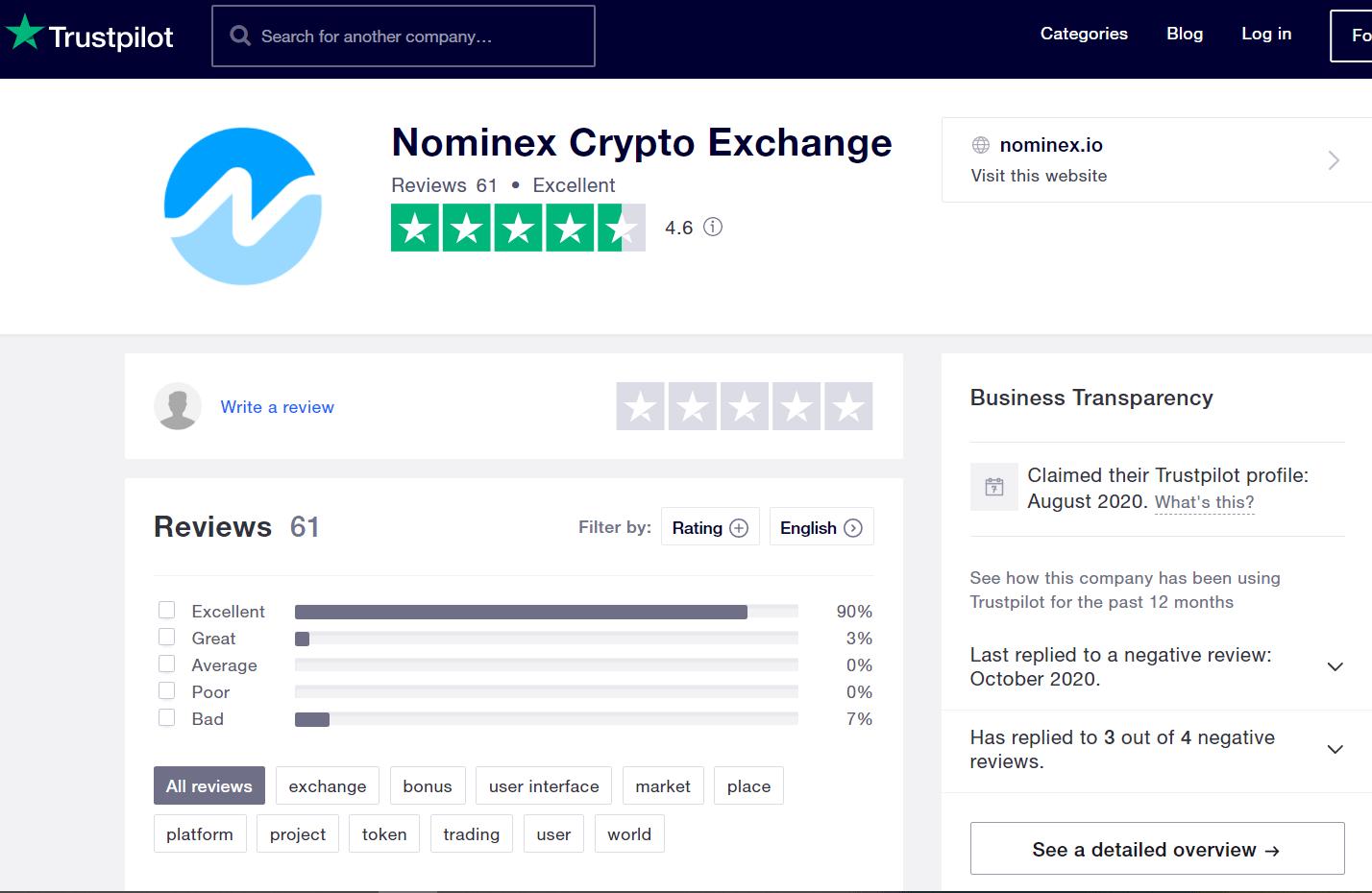 отзывы о nominex на Trustpilot