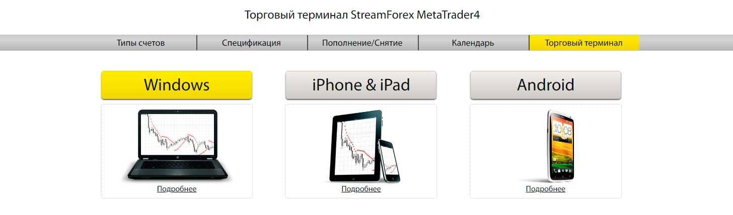Торговые платформы StreamForex